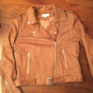 Faux suede motorcycle jacket. Size large.